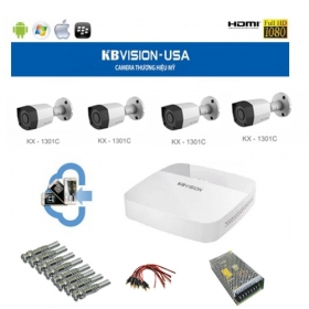 Bộ 4 camera HD Kbvision 1.3Mp